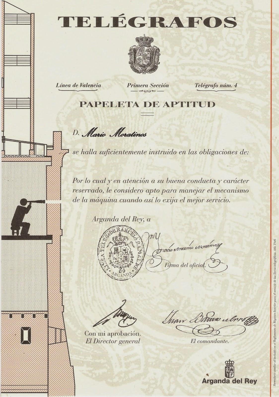 Diploma de torrero en telegrafía óptica