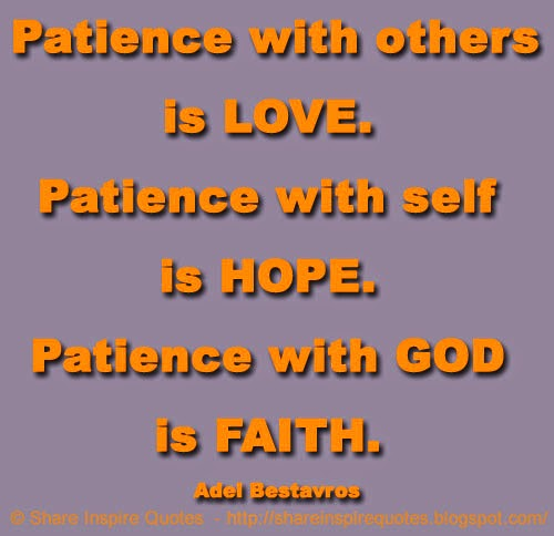 Patience With Self Is HOPE. Patience With GOD Is FAITH. ~Adel Bestavros