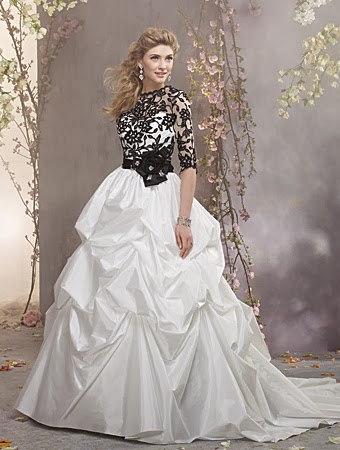 Black and white bridal gown