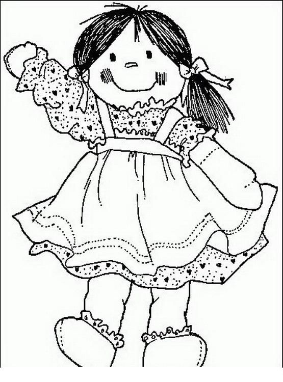 COLOREA TUS DIBUJOS: Muñeca levantando la mano para colorear y pintar