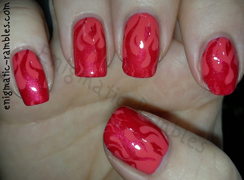 flame-fire-stamped-nails-miss-sporty-Orange-Crush-326-ELF-eyes-lips-face-Cranberry-MoYou-London-Roxy-Collection-01