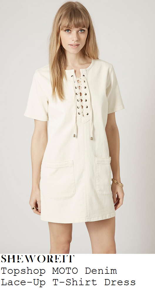 lauren-pope-white-short-sleeve-lace-up-denim-mini-dress-towie