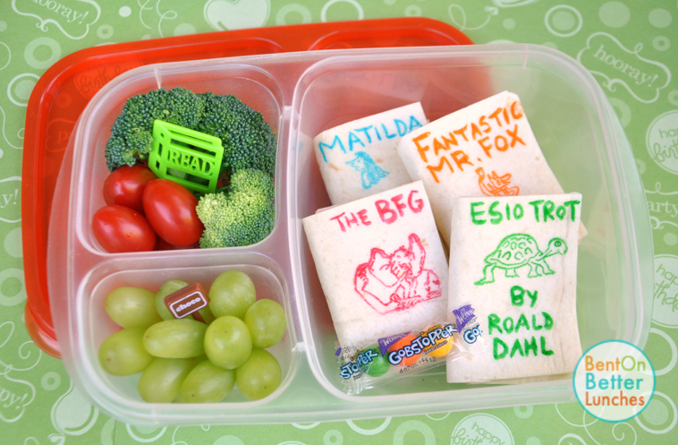 Edible Books bento school lunch for Roald Dahl Day, by BentOnBetterLunches