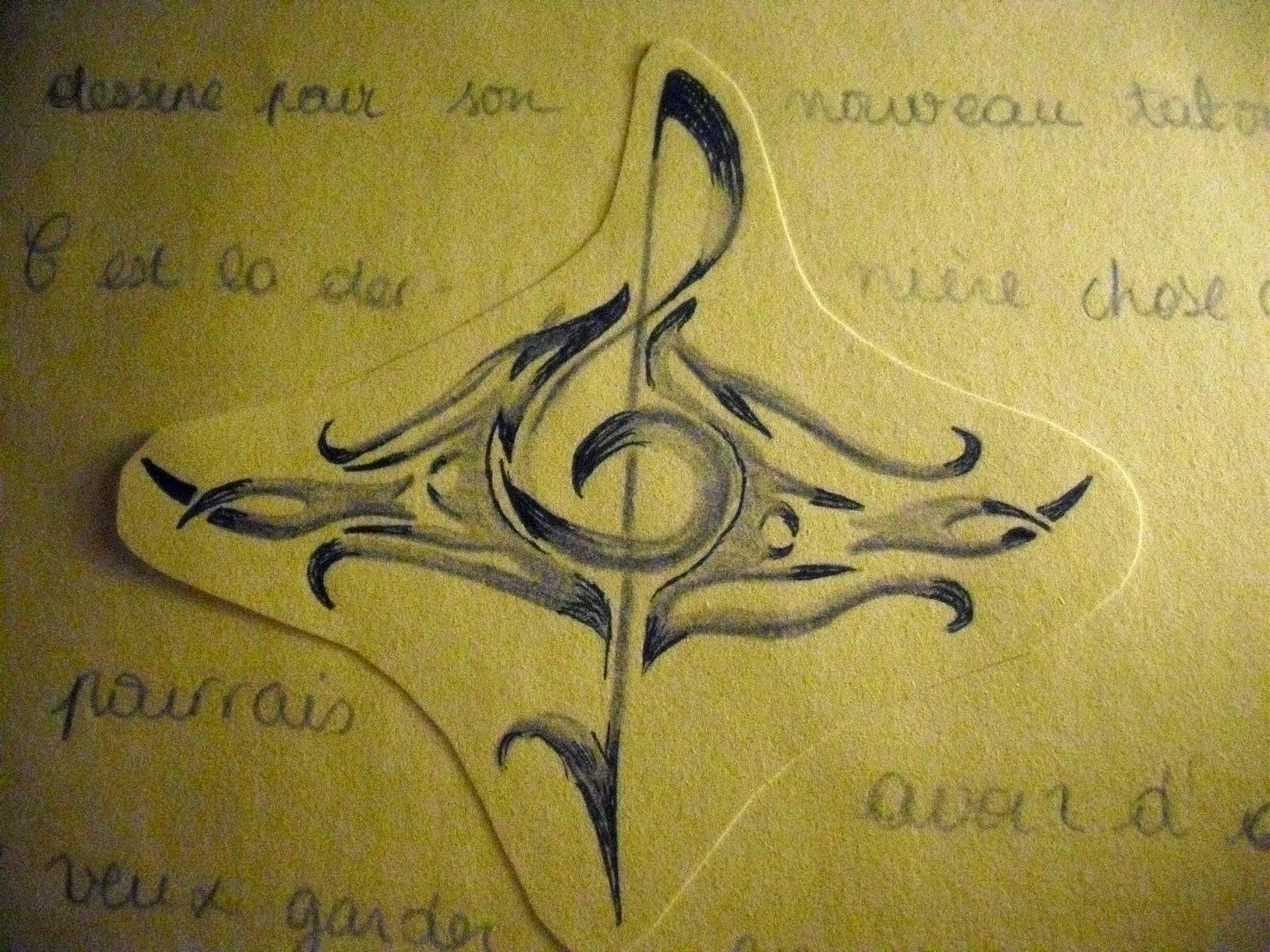 tatouage clé de sol tribal - Tatouages de clefs Clé de Sol et fa Mistertatouages