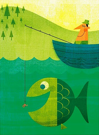 a happy fisher man in Steve Mack's fishing illustration
