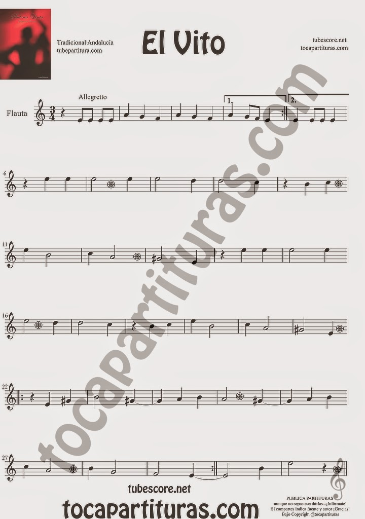 El Vito Partitura de Flauta Travesera, flauta dulce y flauta de pico Sheet Music for Flute and Recorder Music Scores