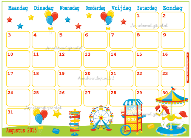 kalender voor kinderen, kalender om zelf te printen, diy kalender, kalender 2015 kalender voor augustus