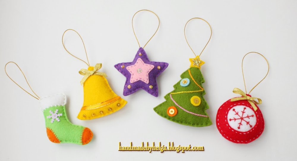 Handmade by Helga: Assorted Felt Christmas tree Ornaments
