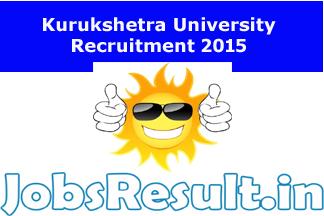 Kurukshetra University Recruitment 2015