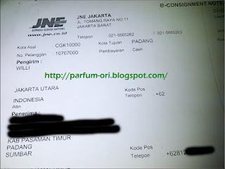 Pengiriman Parfum ke Padang, Sumatera Barat.