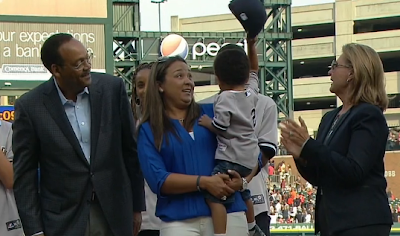 Derek Jeter nephew Jalen tips cap to crowd