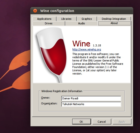 Wine 1.3.18 di Ubuntu 11.04 Natty Narwhal Beta 2