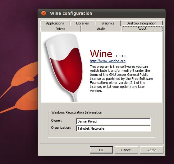 Wine 1.3.18 di Ubuntu 11.04 Natty Narwhal Beta 2