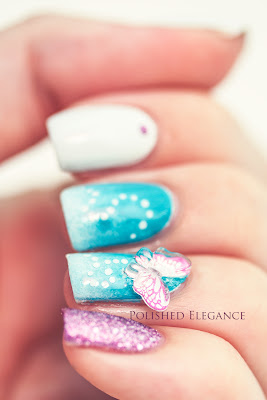 3D butterfly nail art pink butterfly nail art manicure nail polish skittlette manicure skittle manicure