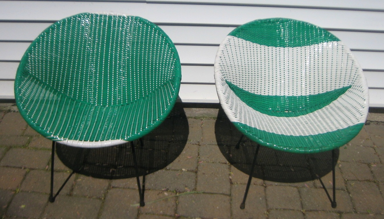 Mid century plastic woven saucer outdoor chairs green and white chairs with wrought iron base