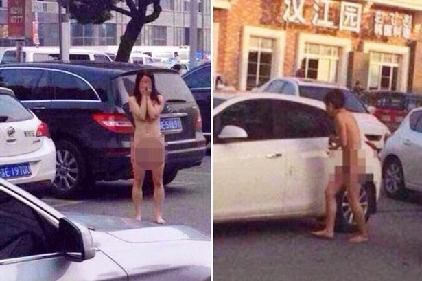 Si pria memohon untuk dibukanan pintu mobil sedangakan pasangan wanitanya tampak malu dengan menutupi wajahnya