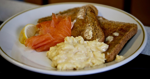 smoked salmon and scrambled egg pic: Kerstin Rodgers/msmarmitelover.com
