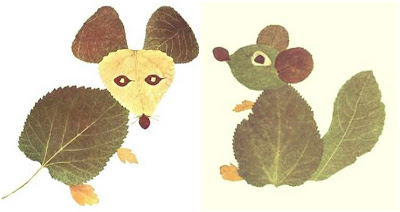 животные из листьев для детей