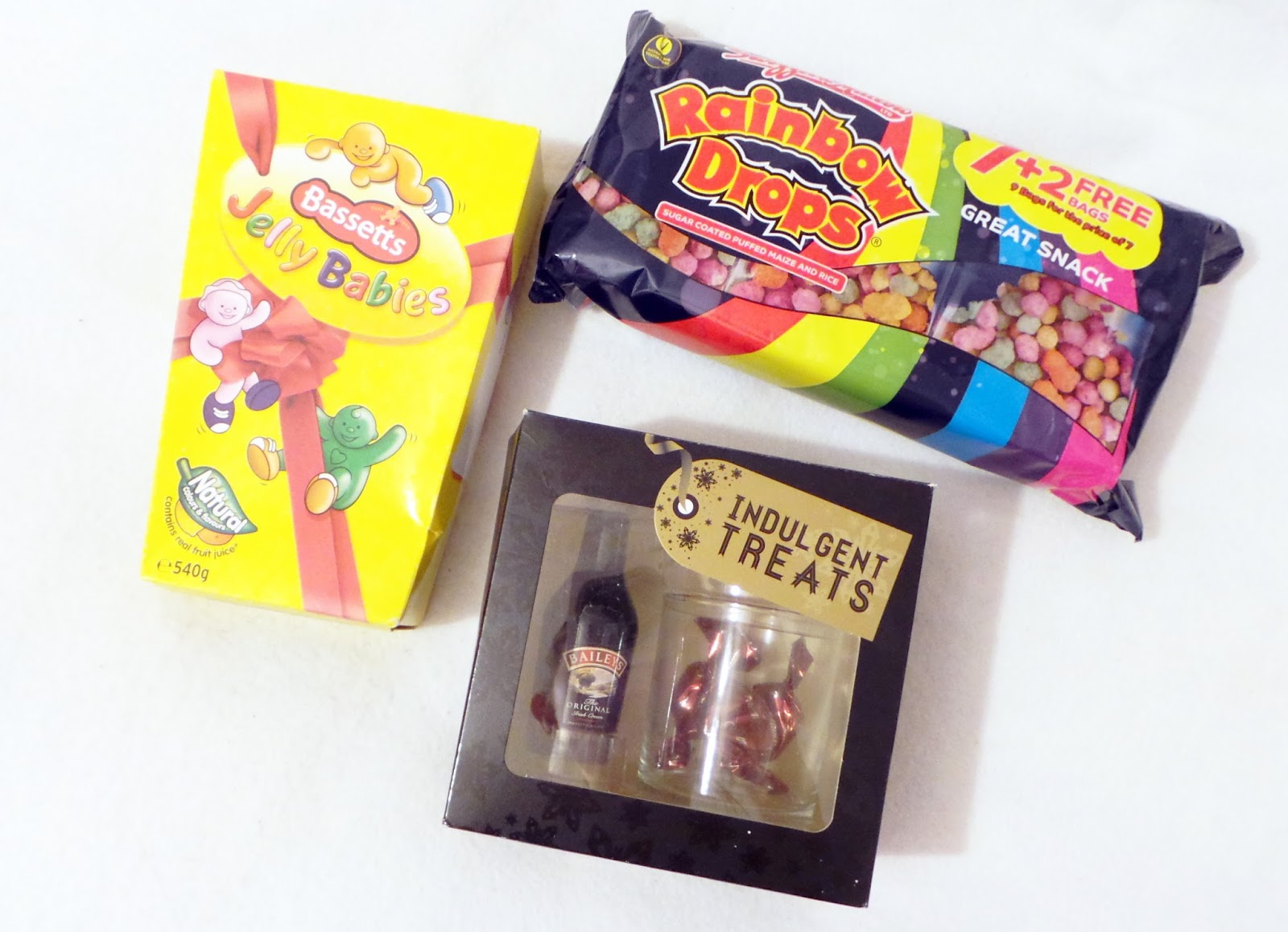 birthday haul blog post - Sweets! jelly Babies, Rainbow Drops& Baileys Gift Set Boots