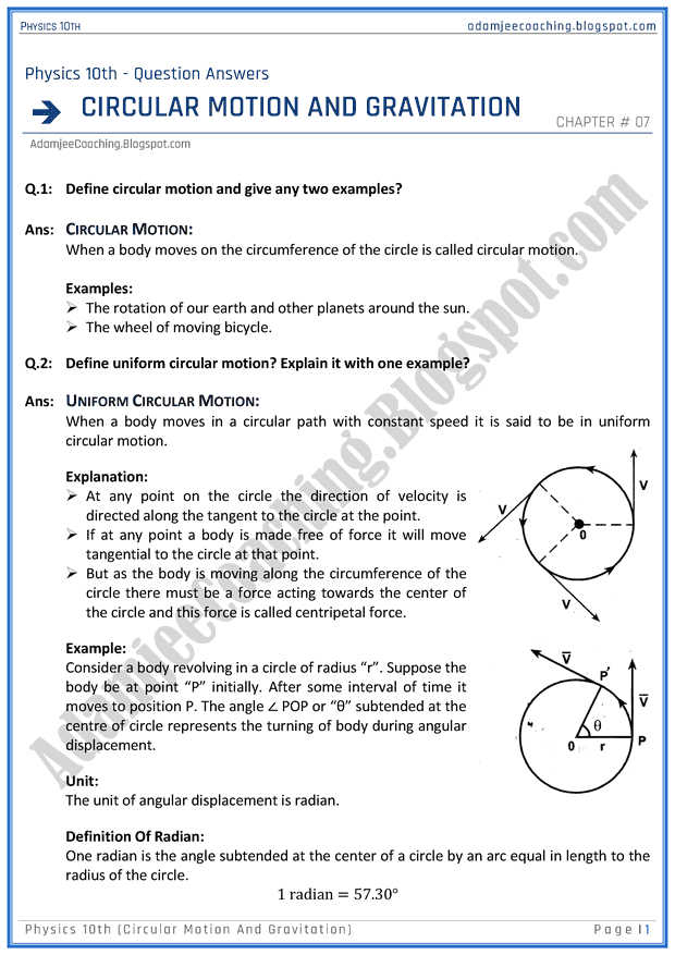 circular-motion-and-gravitation-question-answers-physics-10th