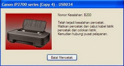 Cara Mengatasi Error B200 Printer Canon IP 2770
