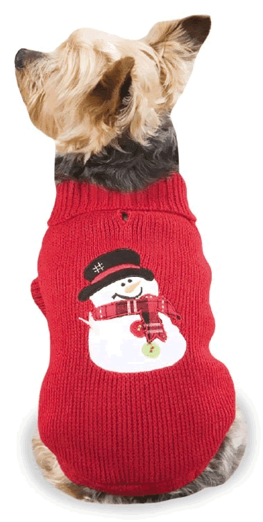 casual canine snowman sweater