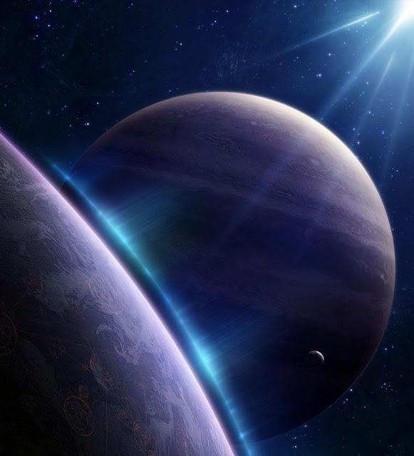 Conjunçao planetas luz azul no universo
