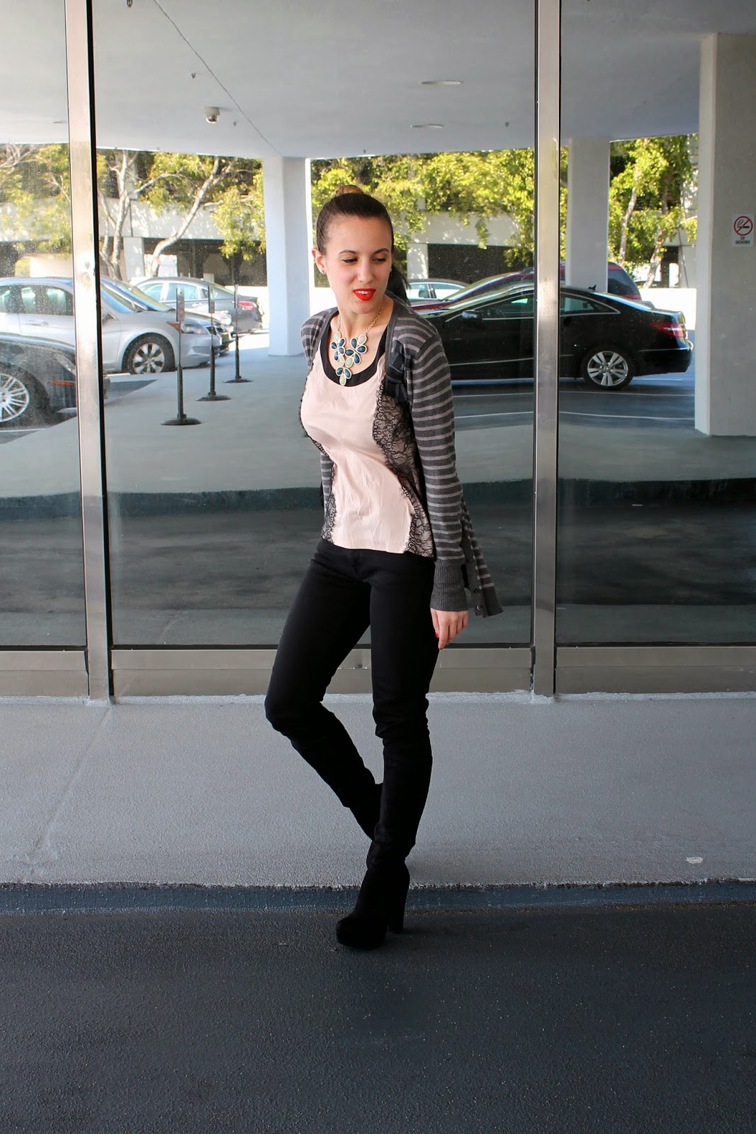Nordstrom, White House Black Market, Levi's, LOFT, stripes, prep, edgy, Miami fashion, ootd, lace