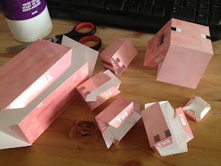 Papercraft pig folded template