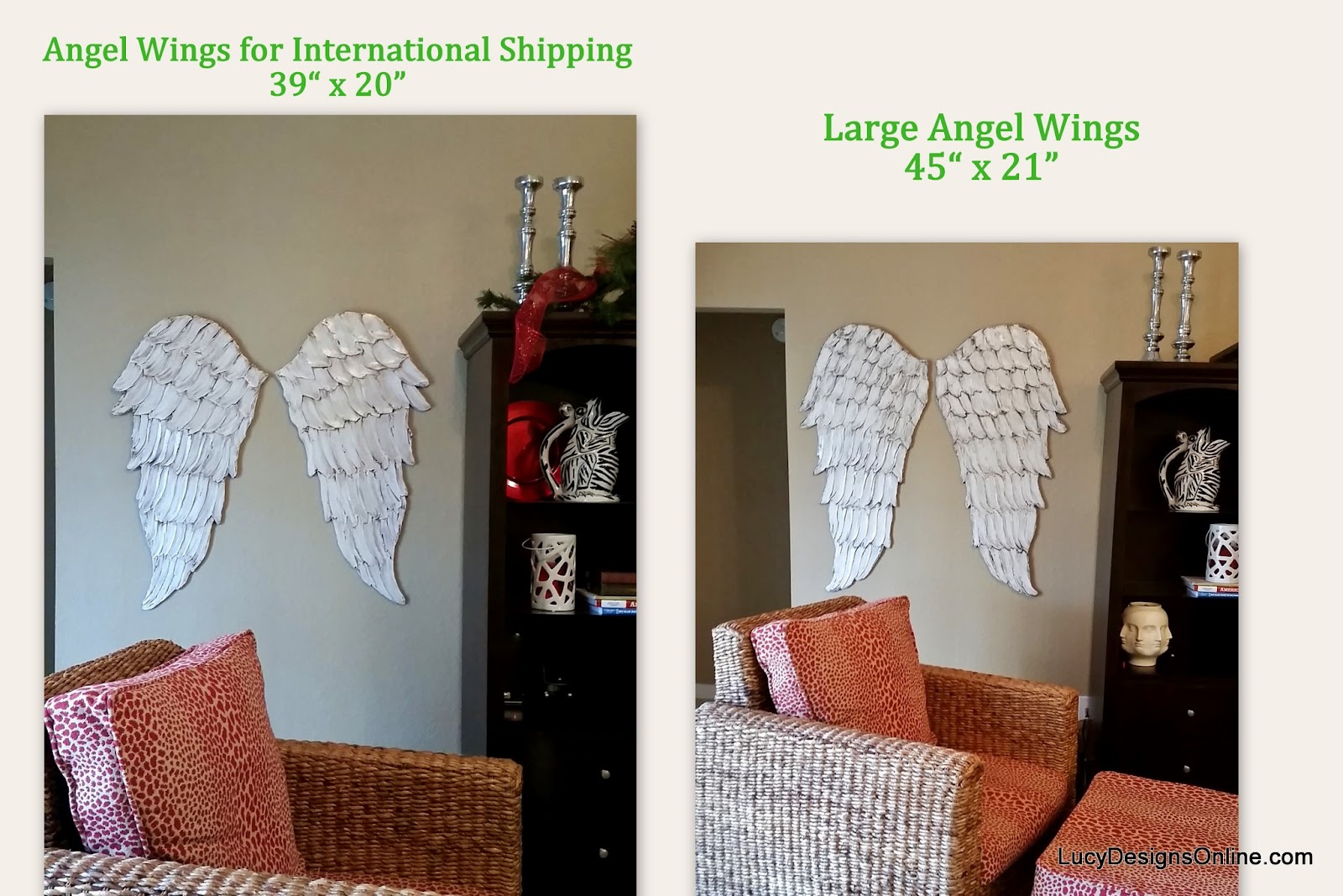 white distressed angel wing wall art