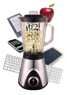 Blender with cellphone, computers, books, other sources of technology around it to represent blended learning