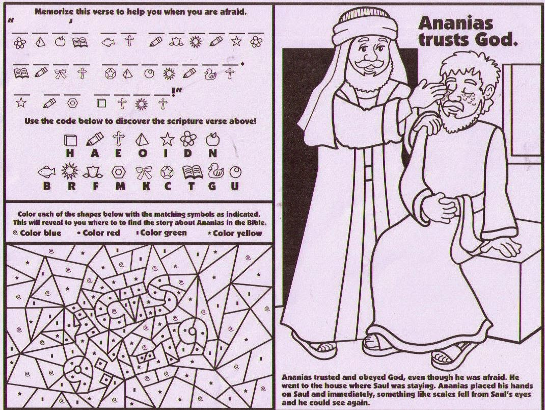 Childrens coloring sheet of saul and ananias - Ananias Helps Saul Activity Sheet