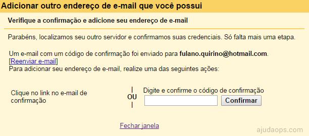 onfirmando conta de e-mail com código ou link