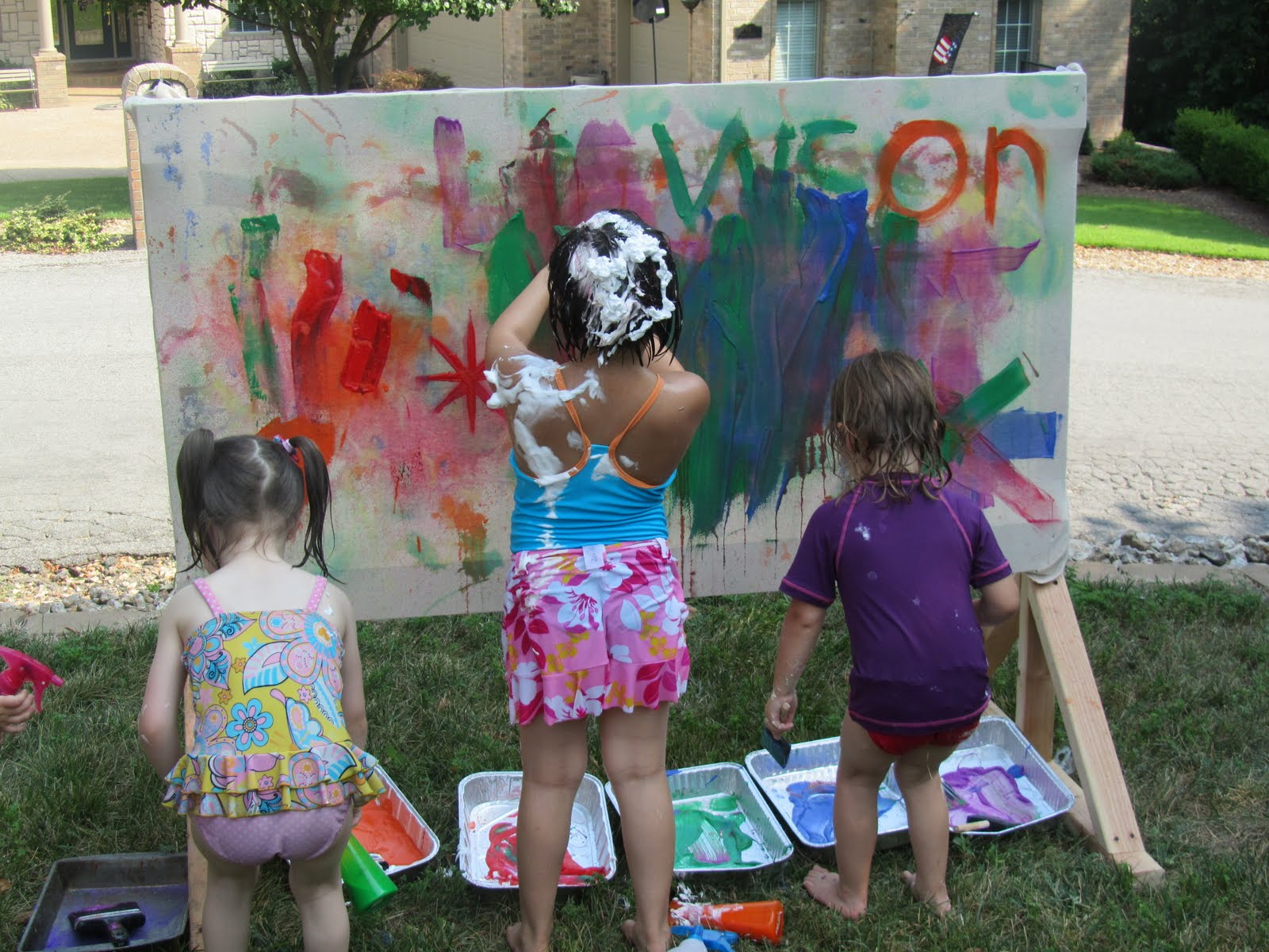 Play Create Explore Messy Art Rainbow Theme Outdoor Birthday Party