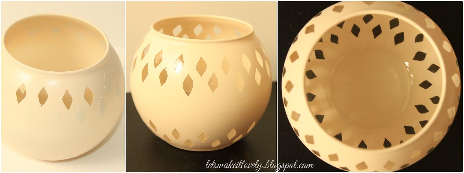 Beautify a plain dollar store candle holder. Diwali Decor. Home Decor. Christmas Gift Idea