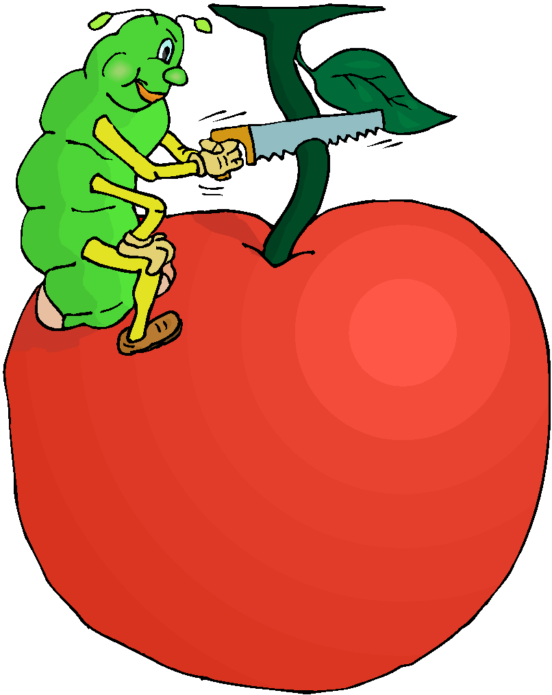 Worm in An Apple Free Clipart