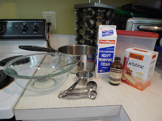 tools and ingredients for cooked cream
