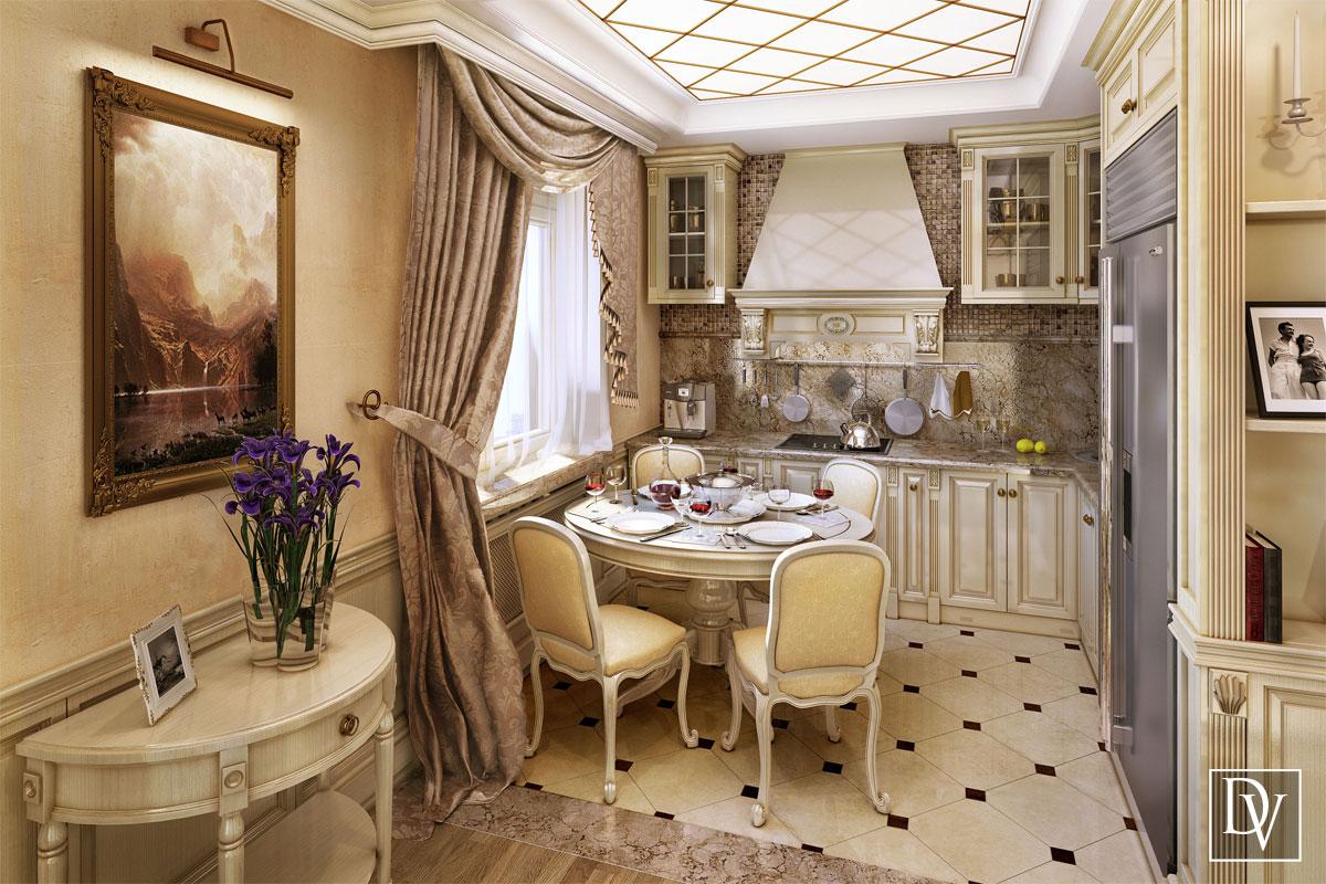 Интерьер кухня гостиная классика