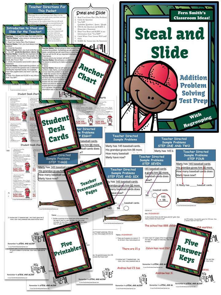 Fern Smith's Just Published Test Prep Baseball's Steal and Slide Method - Addition With Regrouping