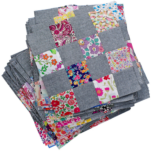 Liberty and Chambray Patchwork Blocks - Red Pepper Quilts