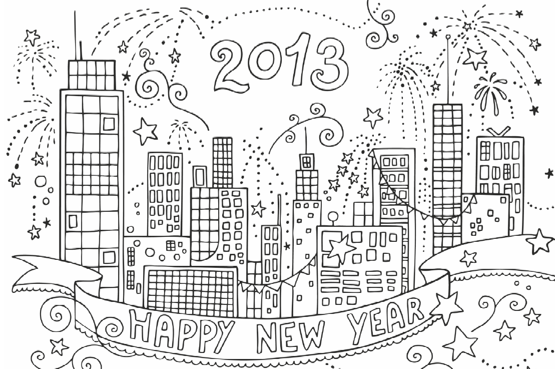 Free coloring pages new year 2016 - Free New Year S Eve Coloring Pages