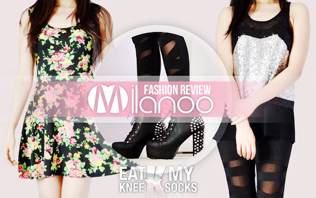 The Eat My Knee Socks/Mimchikimchi intro picture for the Milanoo fashion review, featuring a floral dress, sequined vest, and black Jeffrey Campbell Lita Spike platform booties dupes.