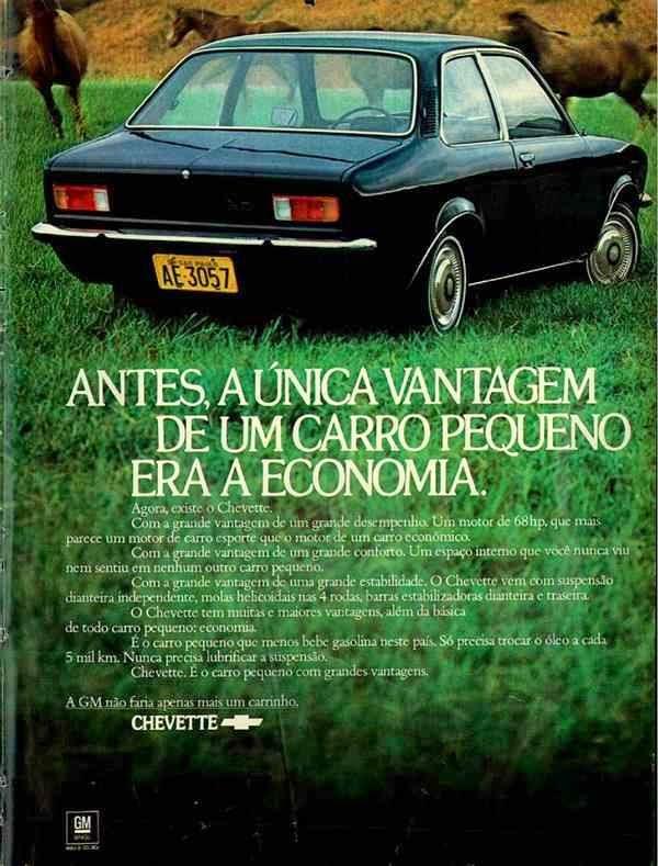 Propaganda do Chevette (Chevrolet) em 1973: pequeno e econômico.