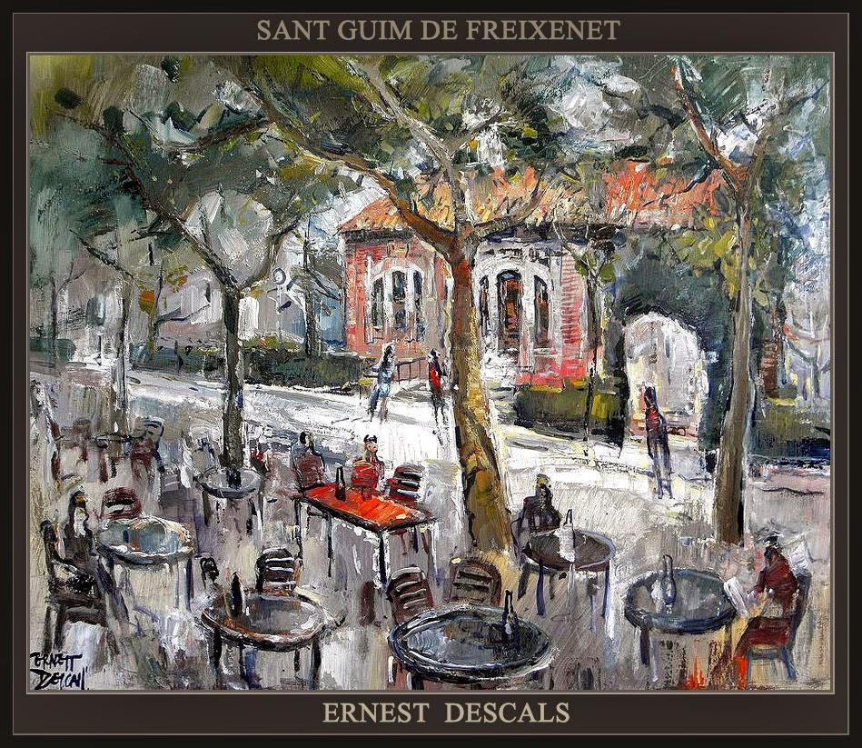 SANT GUIM DE FREIXENET-PINTURA-ESTACIONES-FERROCARRIL-PAISATGES-LLEIDA-PINTOR-ERNEST DESCALS