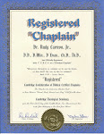 Registered Chaplain Certificate.