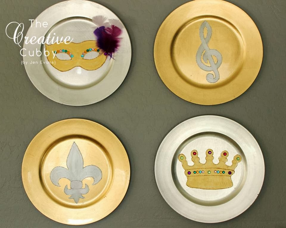 Mardi Gras Plate Decorations  sc 1 st  The Creative Cubby - Blogger & The Creative Cubby: Mardi Gras Plate Decorations