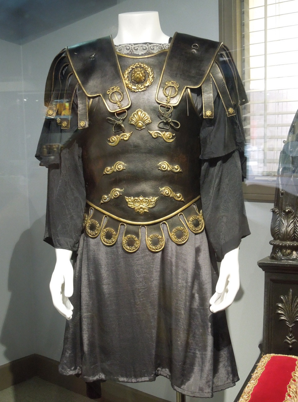 commodus costume and throne from gladiator on display