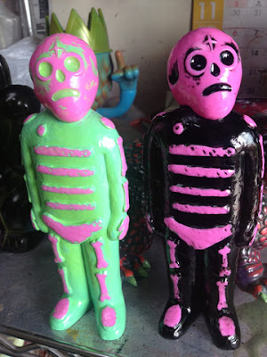 Lulubell Toys Exclusive Pink with Green Rub & Pink with Black Rub Bones Vinyl Figures by Mike Egan