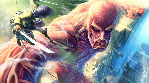 colossal titan vs eren jaeger titan attack on titan shingeki no kyojin anime hd wallpaper