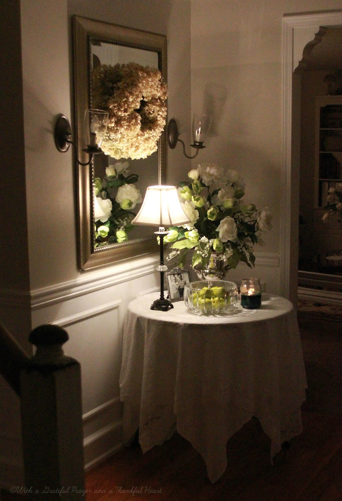 Green Foyer Table : Updated foyer grateful prayer thankful heart